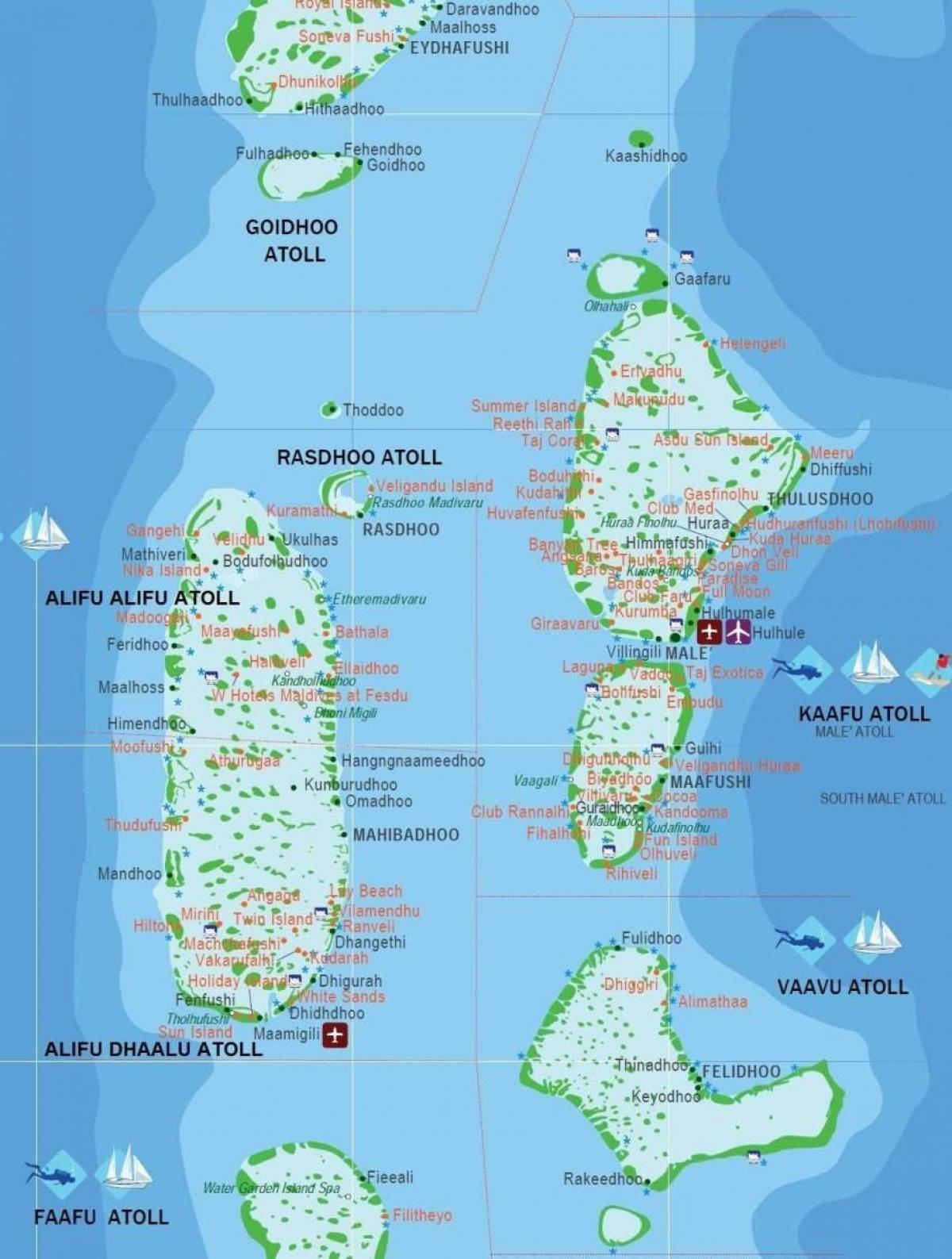 Maldivene Atoll Kart Baa Atoll Maldivene Kart Sor Asia Asia