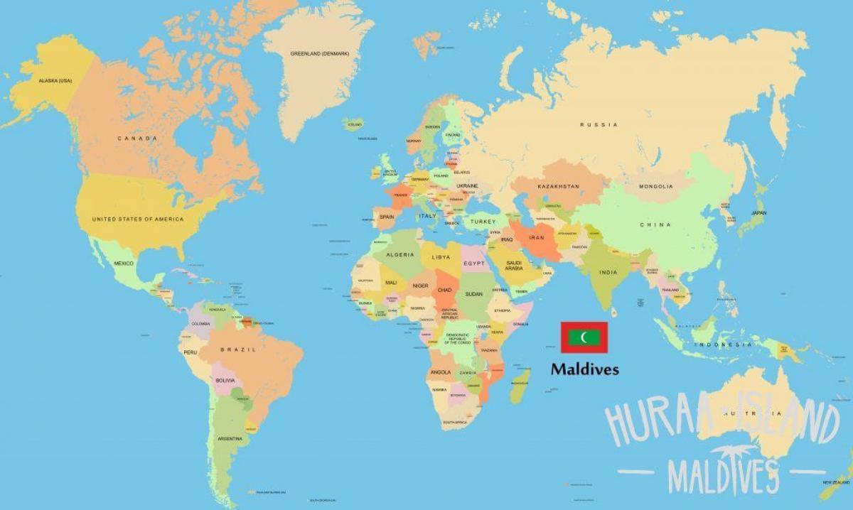 Maldivene Pa Verdens Kart Vise Maldivene Pa Verdenskartet Sor
